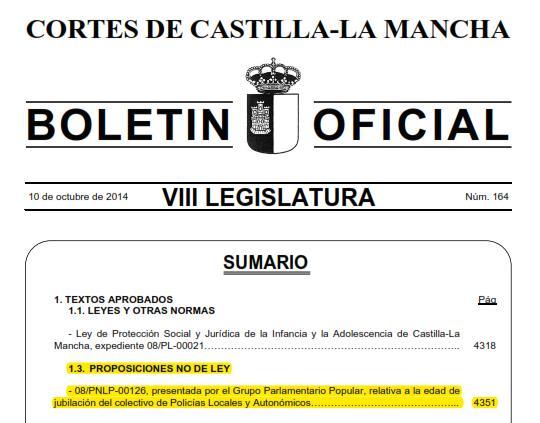 BOLETIN OFICIAL CORTES CASTILLA LA MANCHA