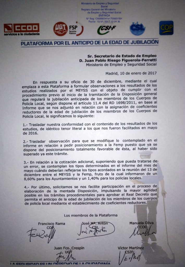 CONTESTACION CON ALEGACIONES PLATAFORMA PROCESO ADELANTO EDAD JUBILACION ENE 2017