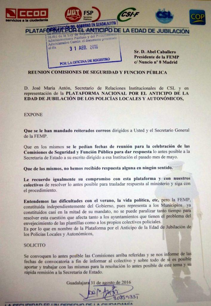 ESCRITO PLATAFORMA A FEMP CONVOCATORIA COMISIONES AGO 2016