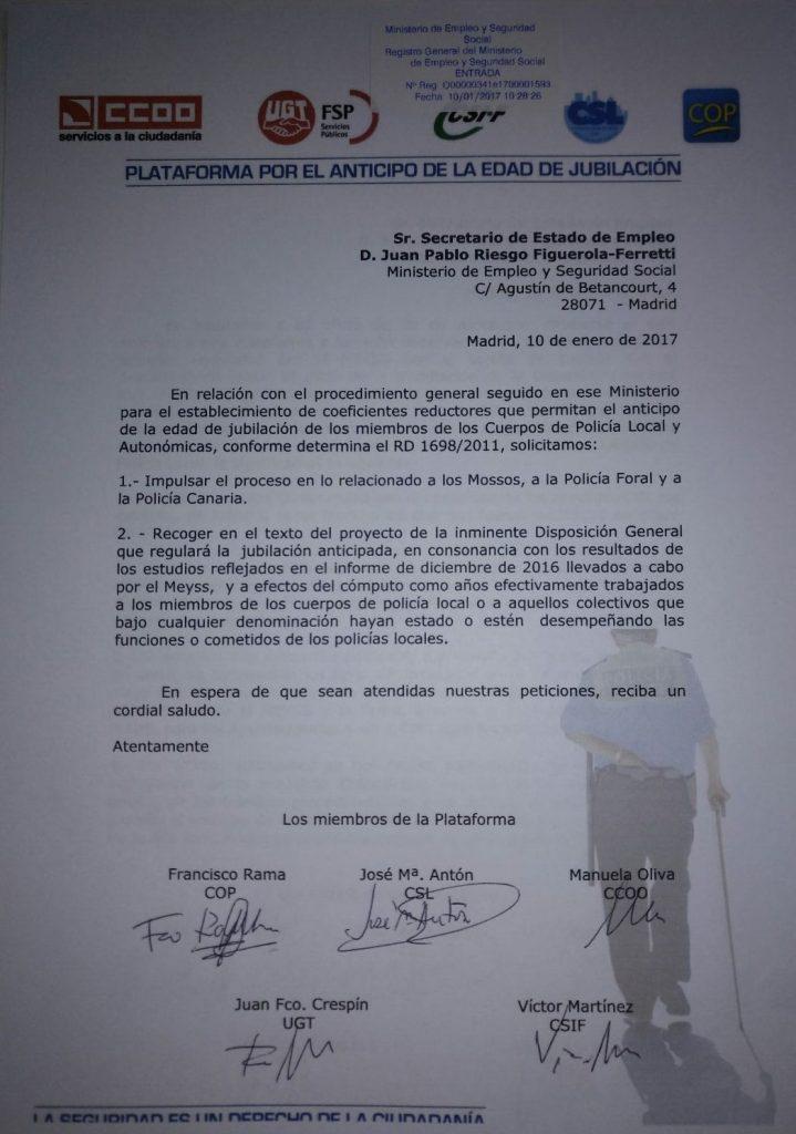 SOLICITUD PLATAFORMA PROCESO ADELANTO EDAD JUBILACIÓN POLICIA AUTONOMICA ENE 2017