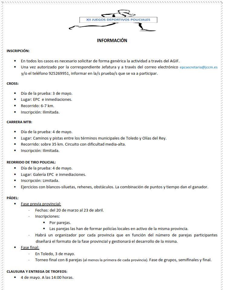 XII JUEGOS DEPORTIVOS POLICIALES 2017 INFORMACION